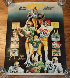 "Vintage NOTRE DAME 1977 FOOTBALL NATIONAL CHAMPIONS POSTER-18""x24""-Joe Montana/Irish"