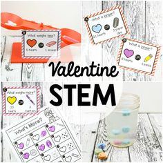 "These Valentine's Day STEM Challenges are a must-try! Use a simple box of candy hearts to dive into weight, length AND science. The set is perfect to use in STEM centers, math stations or as early finisher tasks. Inside you'll find: 16 weight comparison cards asking ""What weighs more?"" 16 weight comparison cards asking ""What weighs more?"" OR ""What weighs less?"" 16 length comparison cards asking ""What is longer?"" 16 length comparison ca..."