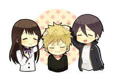 Noragami ~~ They both love him SO much! :: Hiyori, Yukine, and Yato Chibi Kawaii, Cute Chibi, Anime Chibi, Anime Manga, Kawaii Anime, Anime Art, Yukine Noragami, Yatori, Chibi Characters