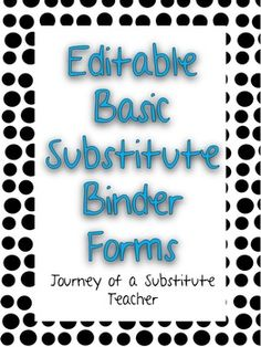 Editable Polka Dot Substitute Binder Form