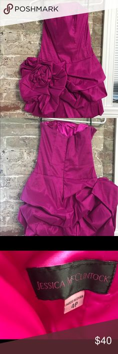 ⚡️Last Chance ⚡️Jessica McClintock cocktail dress 🦄Gorgeous Jessica McClintock cocktail dress- only wore once to a wedding(image of me in pictures). Fitted up top then flows out- beautiful flower design on side. Slight mark  on dress (see image) Perfect for a summer wedding. Color is Fushia. Size 4p runs small. I usually wear a size 2 and this dress fit. Purchased from Lord and Taylor. Jessica McClintock Dresses Mini