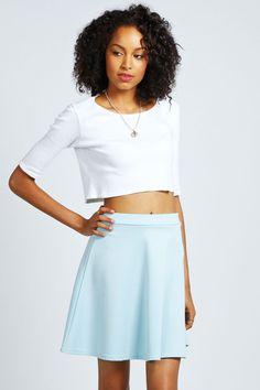 $14, Light Blue Skater Skirt: Boohoo Roseanna Scuba Skater Skirt. Sold by BooHoo. Click for more info: https://lookastic.com/women/shop_items/55168/redirect