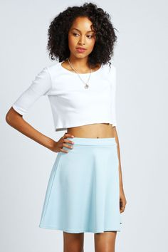 $14, Light Blue Skater Skirt: Boohoo Roseanna Scuba Skater Skirt. Sold by BooHoo. Click for more info: https://lookastic.com/women/shop_items/55168/redirect