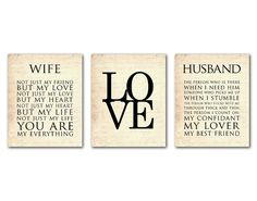 Wife - Husband Typography - LOVE - Anniversary Wedding Gift - Wall Art Trio - Valentine's Day Gift - 8 x 10 or larger print on Etsy, $42.50