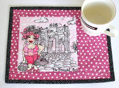 Quilted Mug Rug, Pink Mug Rug, Paris Holiday, Triumphal Arch, Snack Mat, Gift for Knitter, Quiltsy Handmade by RedNeedleQuilts on Etsy