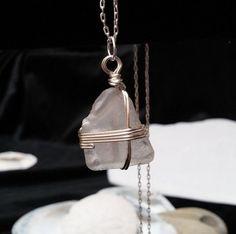 Genuine white sea glass pendant silver wire by SeaAndCakeDesigns