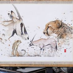 """""""""""Impossible Love""""  Watercolour on Canson Montval size 42x55cm 300gsm.  #watercolor #watercolour #art #artwork #painting #illustration #cheetah #oryx…"""""""