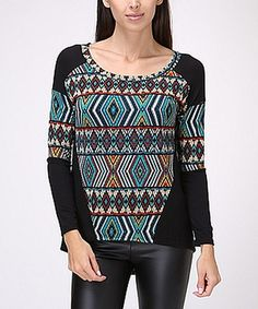 Love this Teal & Black Tribal Hi-Low Top on #zulily! #zulilyfinds