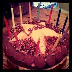 Birthday cake for a Star! Birthday Candles, Birthday Cake, Sweets, Star, Gummi Candy, Birthday Cakes, Candy, Goodies, Stars