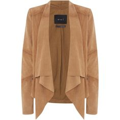 Oui Suede waterfall jacket ($210) ❤ liked on Polyvore featuring outerwear, jackets, tops, cardigans, clearance, tan, beige jacket, tan suede jacket, suede jacket and suede leather jacket
