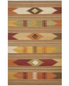 Hand-woven Navajo Kilim Red/ Multi Wool Rug (8 x 10)