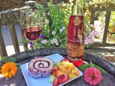 a strawberry sponge cake and Gamay Rouge rose wine from the V. Sattui Winery in Napa Valley, California