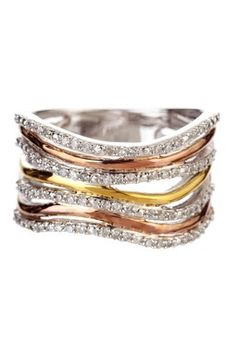 Love this - 14K Gold Tri-Color Diamond Ring