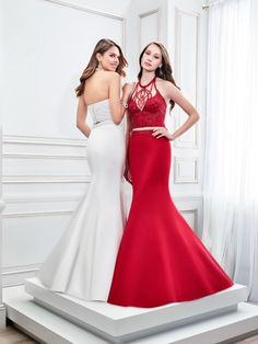 Val Stefani Style 2853RX, Prom 2016 crop top prom dress, hottest prom trends, a two piece prom gown with a beaded top and mermaid skirt, satin mermaid prom dress, red and white prom dresses