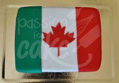 la Bandiera dell'amicizia (dedicato ad amici canadesi che tornano a casa dopo un lungo soggiorno in Italia): torta bianca con bagna al limone, crema diplomatica e fragole, crema al burro e pdz