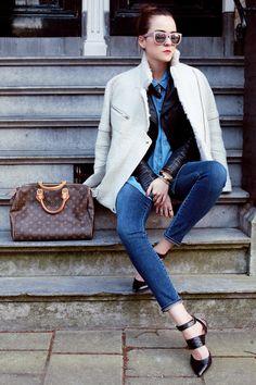 Coat: IRO     Leather Jacket: ZARA     Jeans: Citizens Of Humanity    Beetle Necklace: Rachel Entwistle via Boticca     Shoes: Sigerson Morrison     Sunnies: H     Denim shirt: ZARA     Bag: Louis Vuitton Speedy  apr
