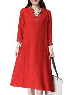 Sale 28% (29.99$) -  Women Vintage Embroidery Dress Plus Size V Neck Chinese Style Dresses