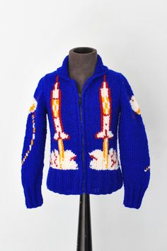Mary Maxim Kids Outter Space Cardigan Sweater / Hand Knit Wool Cowichan Sweater / Curling Sweater