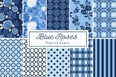 Blue Rose Backgrounds by Lilly Bimble on Creative Market