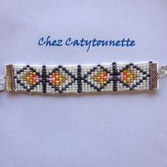 Bracelet en perles de rocailles motif atzèque