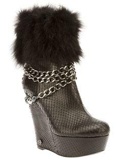 PHILIPP PLEIN - Black python skin with fur and chain wedge boots