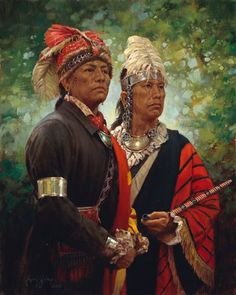 View Mohawk Leaders By Robert Griffing; Oil on linen; Access more artwork lots and estimated & realized auction prices on MutualArt. Native American Warrior, Native American Indians, Mohawk Indians, American Indian Wars, Cherokee History, Woodland Indians, Indian Arts And Crafts, American Paint, Indian Pictures