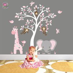 Giraffe and Elephant Wall Decal, Pink and Grey nursery decor.  Friendly monkeys, around a white tree mural. Baby Girls Wall Stickers, Birds