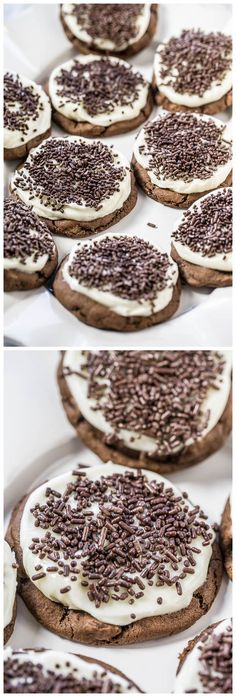 Soft Frosted Chocolate-Chocolate Chip Sprinkles Cookies Recipe