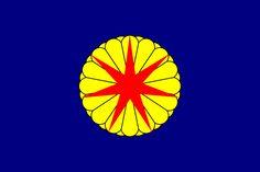 Drapeux de la republique Franco-japonaise, éphémère d'Ezo installer au nord du Japon. Fondé avec l'aide du français Jules Brunet (qui a inspiré le film dernier Samourai interpréter par Tom Cruise) . Capital Hakodate  Flag of the Republic of Ezo (1869).