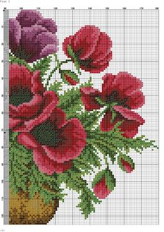 This Pin was discovered by Neş Cute Cross Stitch, Cross Stitch Rose, Cross Stitch Flowers, Cross Stitch Designs, Cross Stitch Patterns, Cross Stitching, Cross Stitch Embroidery, Embroidery Patterns, Crochet Cross