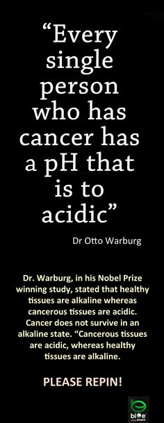 Cancer cells are acidic so get alkaline!!