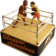 """Hans Biller Company, Germany, """"Slugger Champions"""" Lithographed Tin Wind-Up Toy - U.S. Zone Germany"""