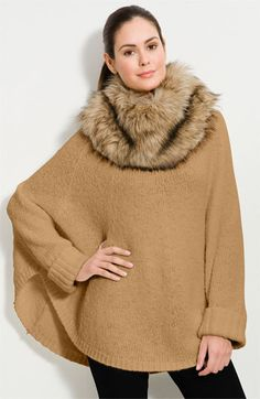 MICHAEL Michael Kors Faux Fur Trim Poncho Sweater available at #Nordstrom