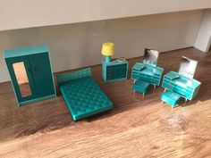 Tri-ang dolls house turquoise furniture