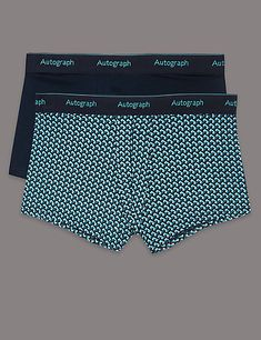 Ananchors in Navy Blue and White Mens Boxer Briefs Breathable Underwear Super Soft Cotton Full-Cut Briefs-2Pack