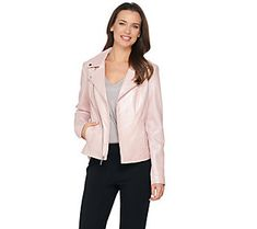 H by Halston Pearlized Lamb Leather Motorcycle Jacket