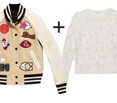 10 Genius Layering Combos to Wear During Awkward Spring Weather  - Varsity Jacket + Open-Knit Sweater  - from InStyle.com