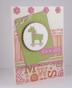 New Baby Girl Card  Handmade Card  Rocking by CardsbyGayelynn, $6.25
