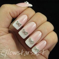 Featuring Born Pretty Store Bling Crystal Rhinestone Bowknots: A manicure using Cuccio Crush In Lake Como, All That Jazz Ice Ice Baby, Misa Snow White and China Glaze Fairy Dust