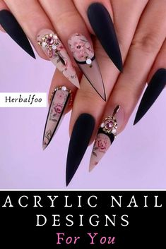 The prevalence of matte stiletto nail designs have increased significantly in the past few years. Matte nails always makes a difference, and it is more luxurious to cooperate with stiletto shape nails. Matte nails should definitely be your first ch Ongles Stiletto Mat, Matte Stiletto Nails, Gel Nails, Coffin Nails, Ongles Bling Bling, Bling Nails, Edgy Nails, Grunge Nails, Nail Art Designs