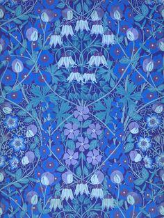 Allan Francis Vigers - Columbines, Periwinkles and Sweetpeas Wallpaper. Circa 1901.