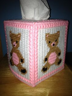 Teddy Bear Tissue Box Cover Pink and White by HandcraftedHolidays, $13.00