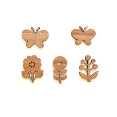 Wall Decor, flowers and butterflies, wood ornaments via Etsy