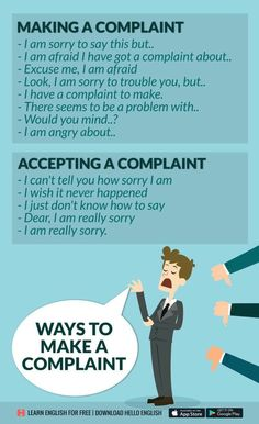 Making a complaint. Accepting a complaint. English Tips, English Idioms, English Vocabulary Words, English Phrases, Learn English Words, English Study, English Lessons, English Grammar, English Learning Spoken
