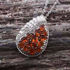 Jalisco Fire Opal and White Topaz Pendant with Chain in Platinum Overlay Sterling Silver (Nickel Free)