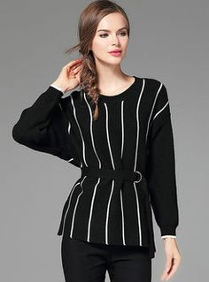 Striped Belt Jacquard Long Sleeve Knitted Sweater