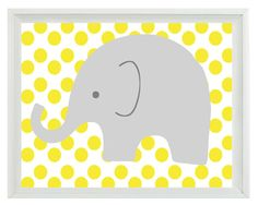 Elephant Nursery Wall Art Print - Yellow Gray Decor Polka Dots Children Kid Baby Room - Wall Art Home Decor 8x10 Print. $15.00, via Etsy.