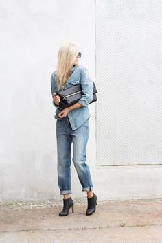 Canadian Tux    Denim shirt, jeans, black ankle boots and fold-over clutch    FIGTNY