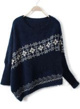 Navy+Long+Sleeve+Asymmetrical+Snowflake+Batwing+Sweater+$36.77