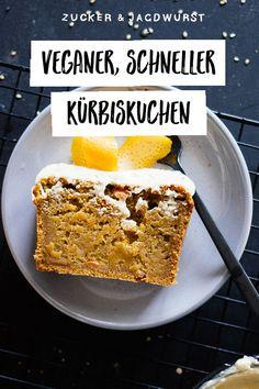 Vegan pumpkin cake with tahini orange frosting - Zucker&Jagdwurst Pumpkin Dishes, Vegan Pumpkin Pie, Pumpkin Recipes, Fall Recipes, Vegan Recipes, Diet Recipes, Vegan Sweets, Sweets Recipes, Baking Recipes
